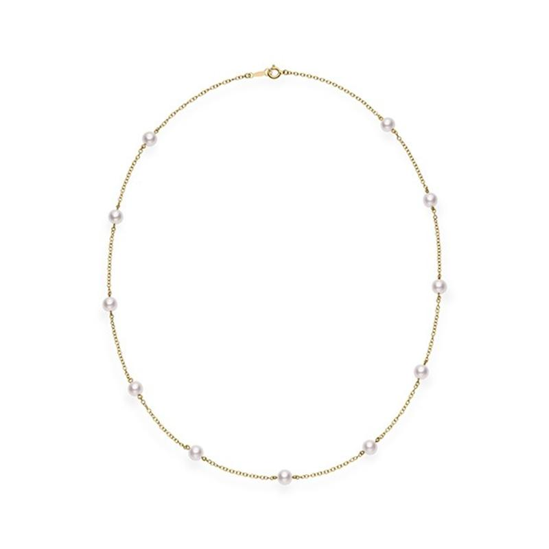 Mikimoto - 18~22 Akoya Cultured Pearl Station Necklace, Necklace