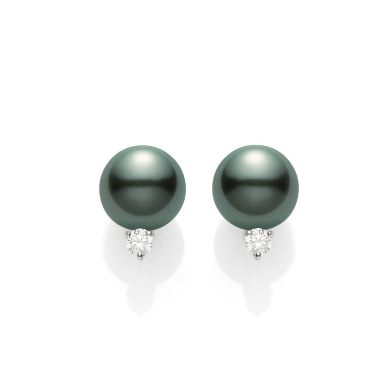 Mikimoto - 9.5 mm Black Pearl and Diamond Stud Earrings, Earrings