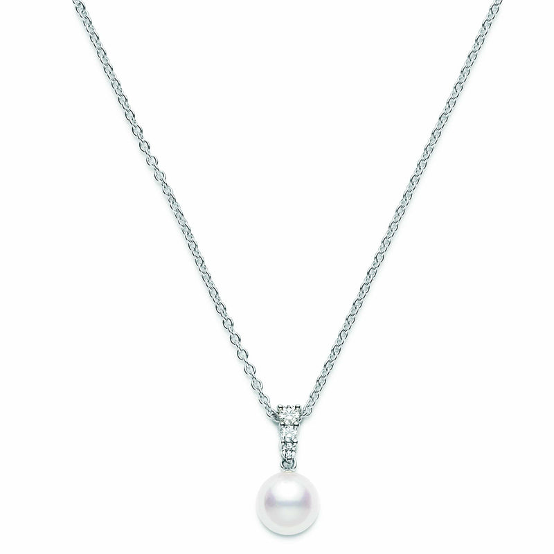 Mikimoto - 8mm Akoya Cultured Single Pearl and Diamond Necklace, Necklace