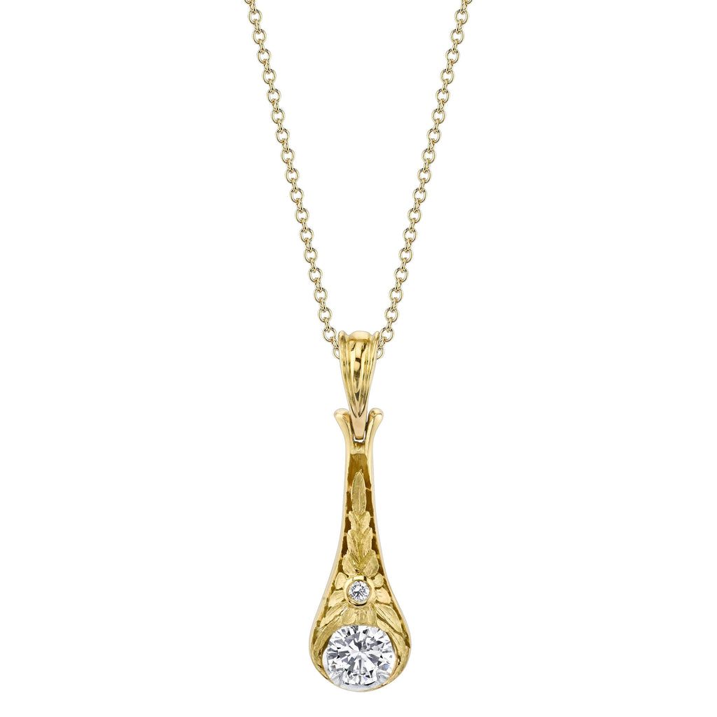 Hand-Chased Diamond Drop Pendant