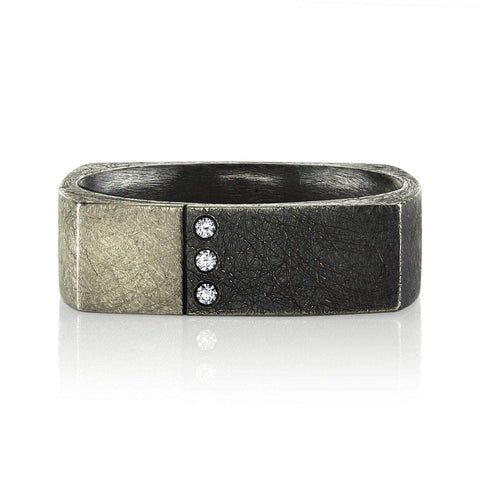 Square Gents Band With Three Stone Accent