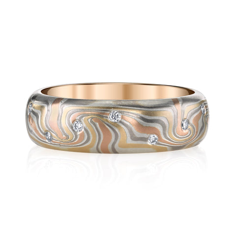 George Sawyer - Half-Round Mokume Diamond Band, Men's Wedding Band