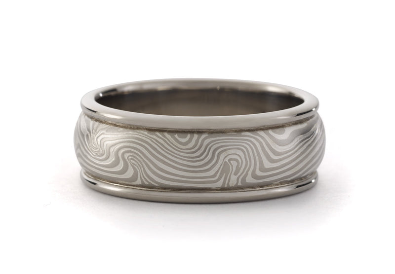 George Sawyer - Round Edge Mokume Band, Mens Wedding Band