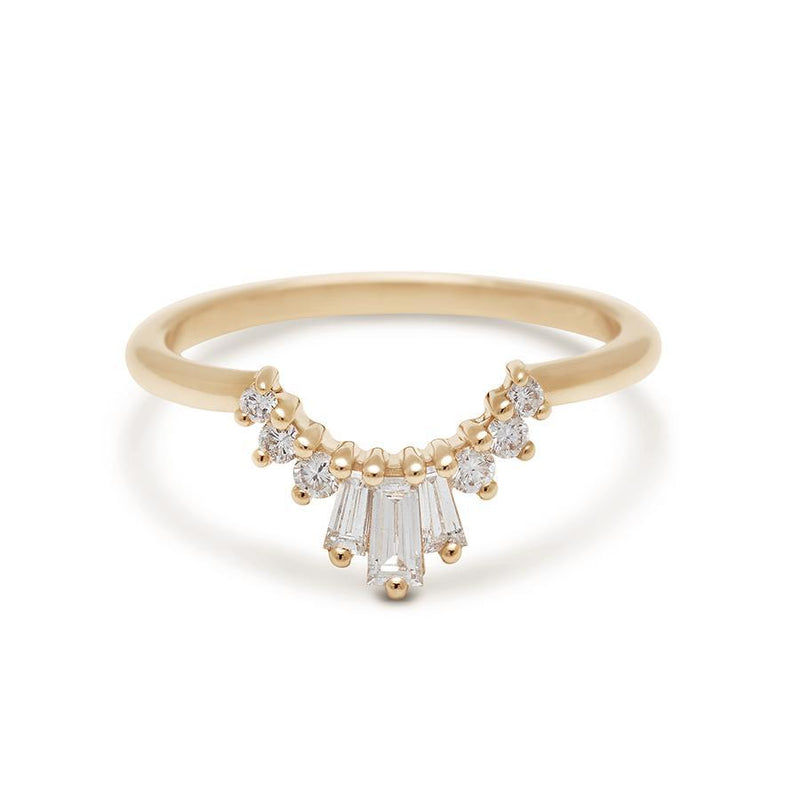 Anna Sheffield - Triple Baguette Tiara Band Yellow Gold, Ring