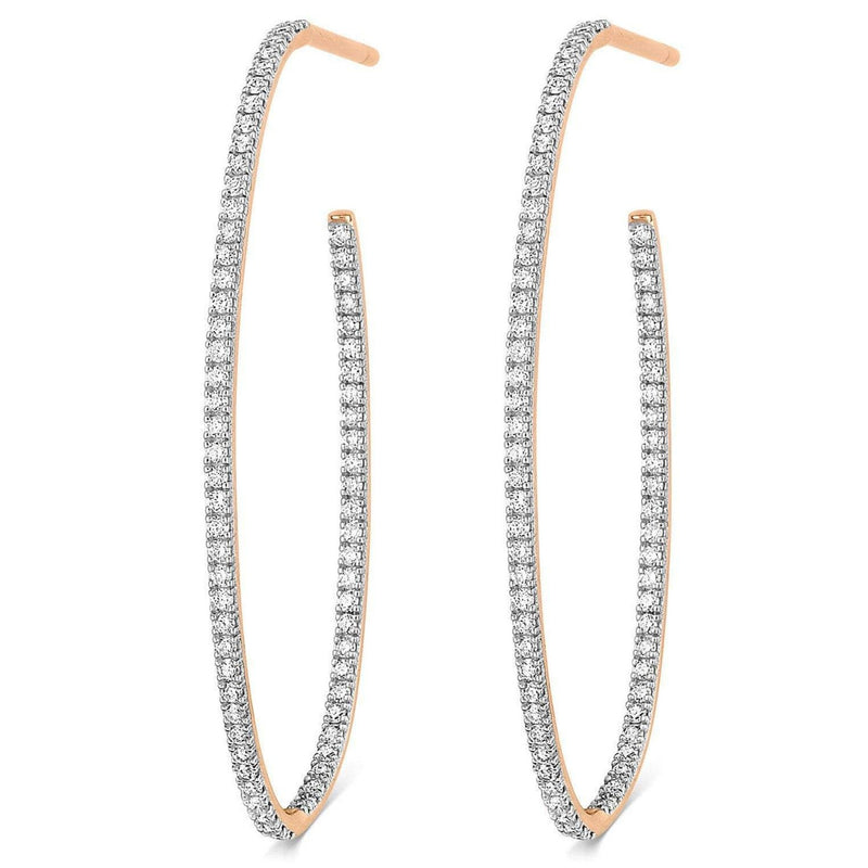 Ginette Créoles Ellipse Large Diamond Hoops Earrings