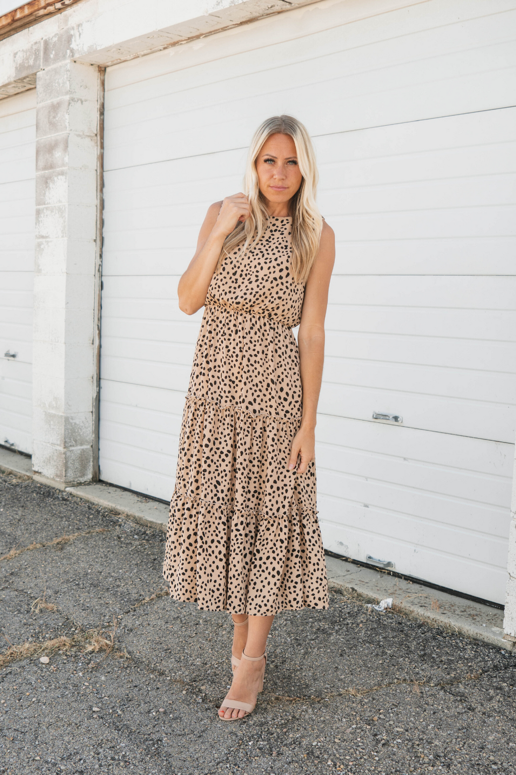 Gabrielle Animal Print Sleeveless Midi Dress