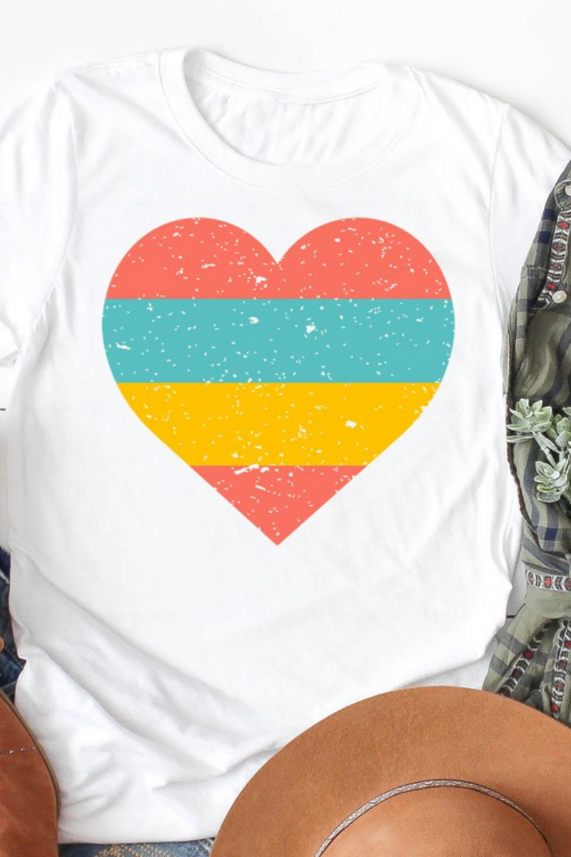 Coral Teal and Yellow Striped Heart Graphic Tee