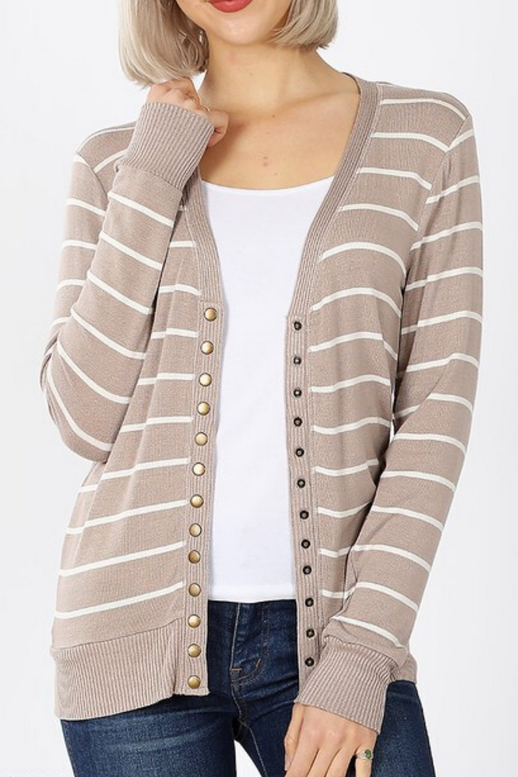 Quinn Striped Snap Cardigan
