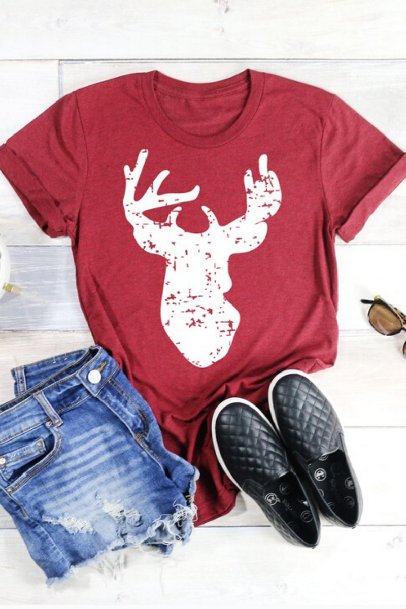 Distressed Deer Graphic Top