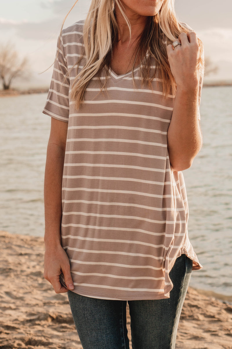 Phoebe Stripe V-Neck Top