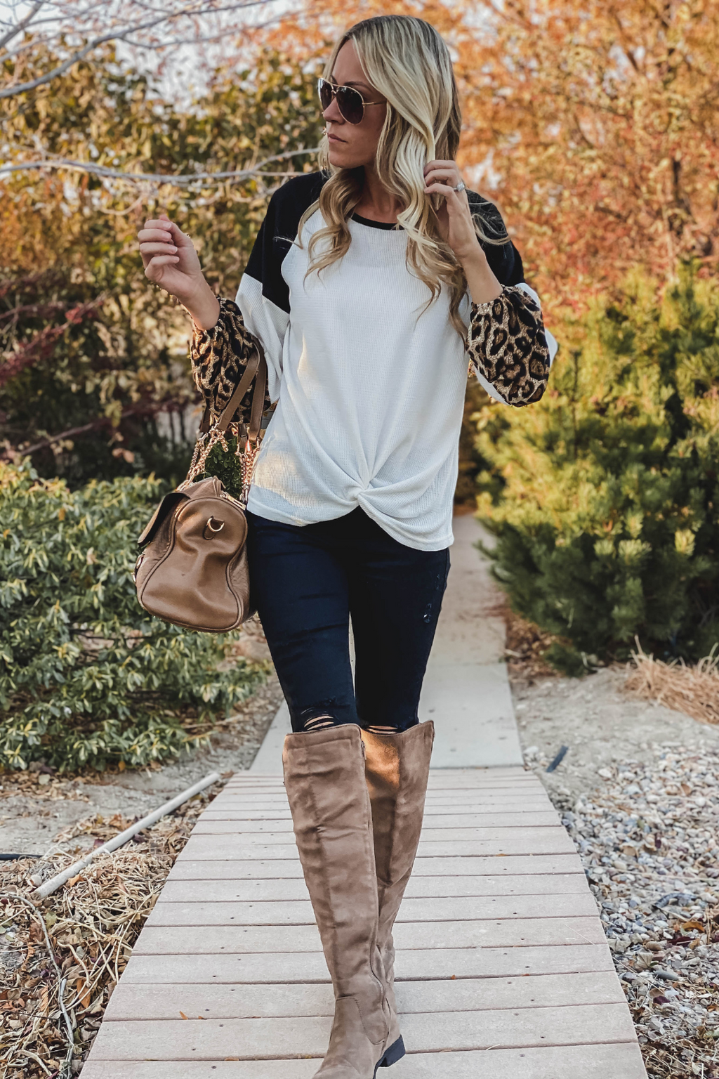Aleah Leopard Accent Top - Only large left!