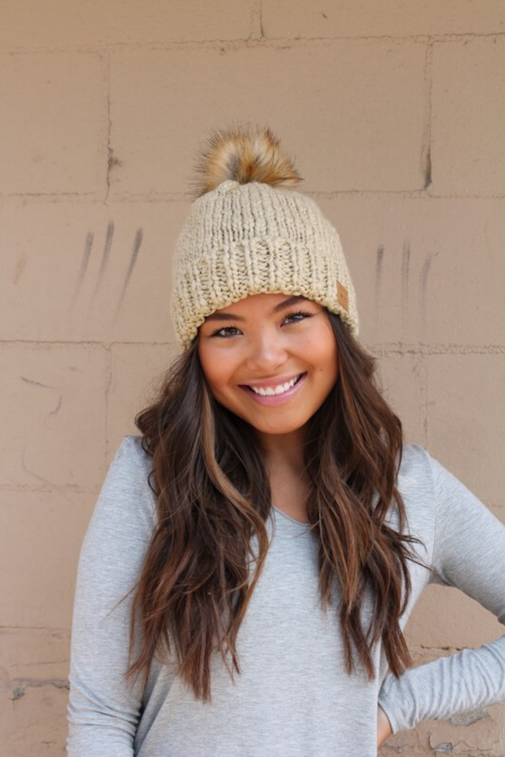 Cami Taupe Knitted beanie