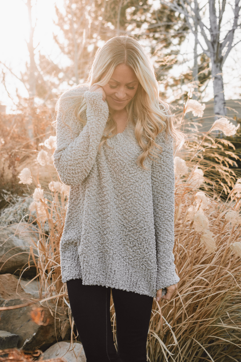 Olive Popcorn V-Neck Sweater