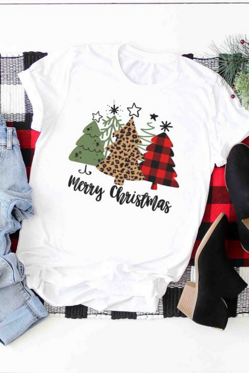 Merry Christmas green,leopard,plaid tree Graphic Tee - PRE ORDER 10/26