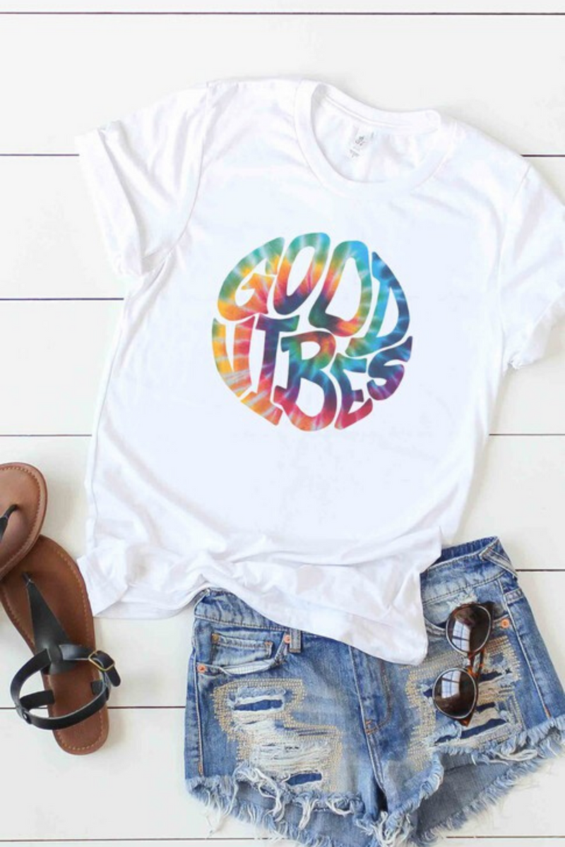 Tie Dye Good Vibes Graphic Tee