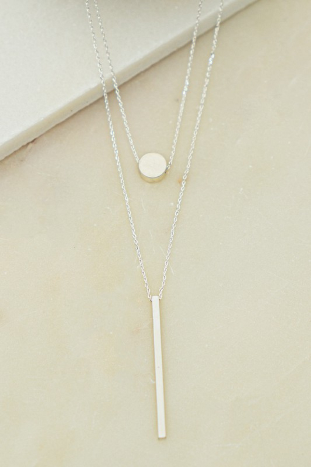 Layered Circle and Bar Necklace
