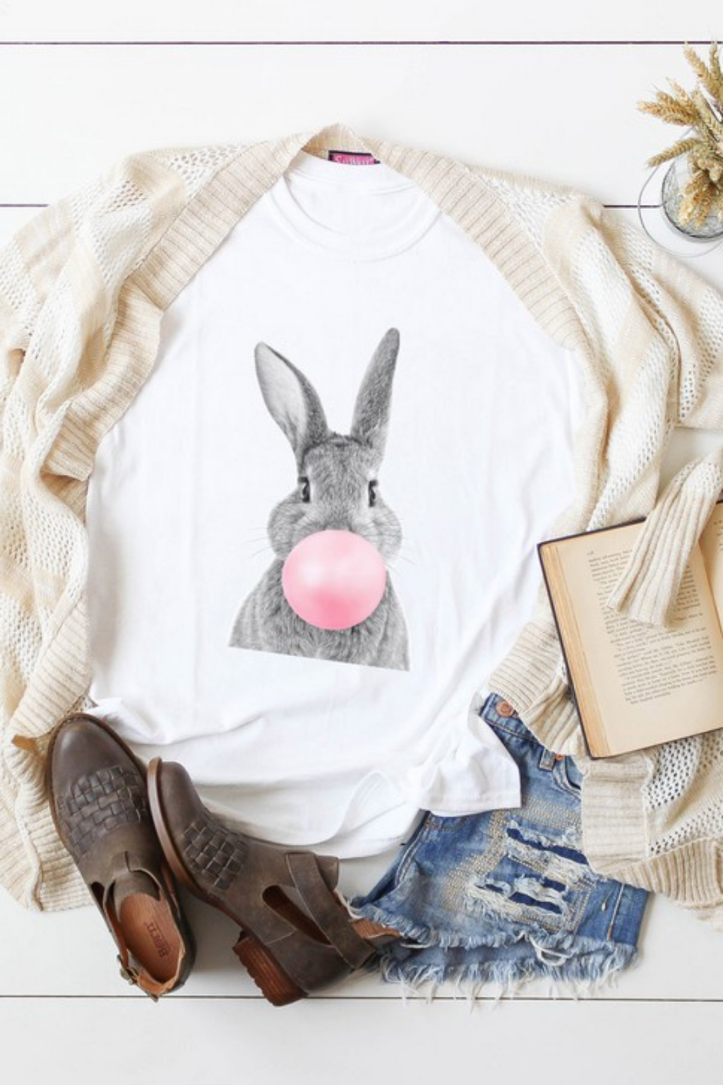 Bunny Blowing Bubble Gum Graphic Tee