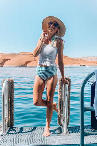 Blake Mint Striped Swimsuit Top