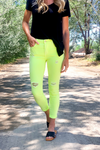 Lacey Mid Rise Neon Yellow Skinnies