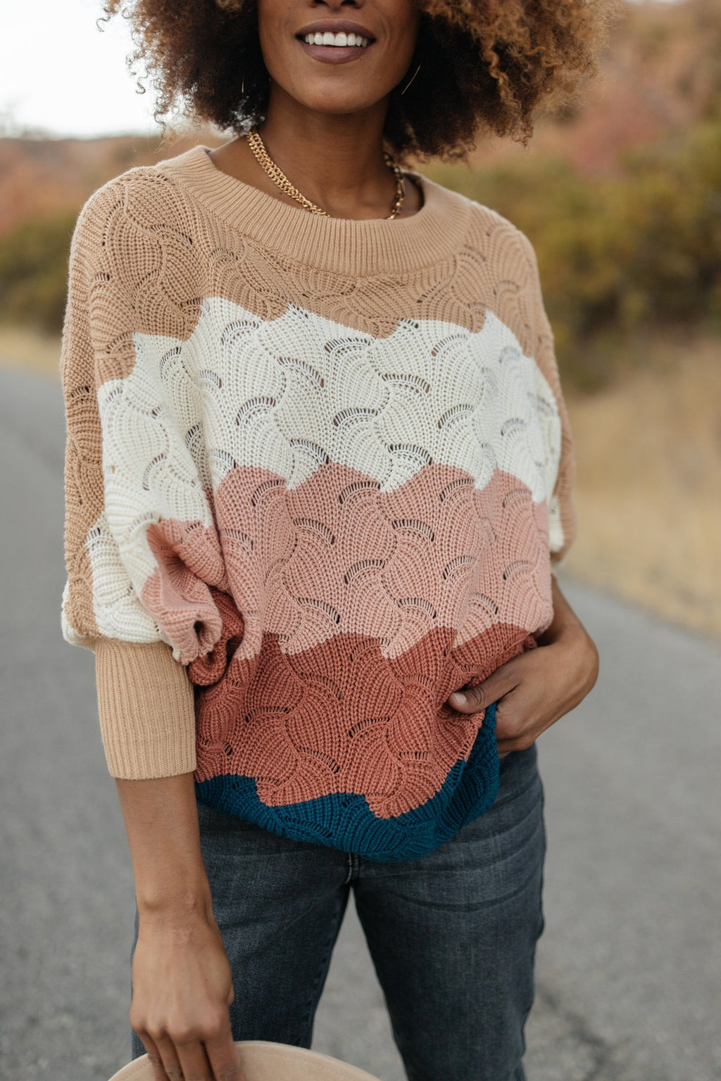 Ava Designed for Details Sweater in Rust