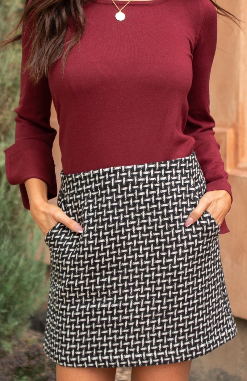 Elly Tweed Skirt in Black