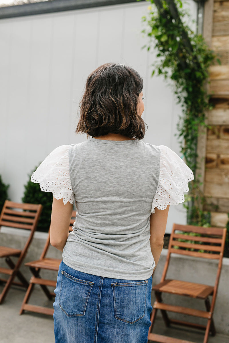 Heather Eyelet Sleeve Top