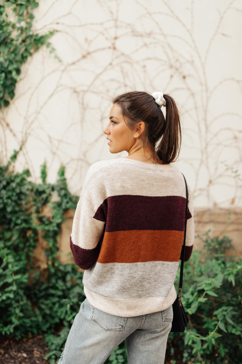 Heathered Heaven Striped Sweater In Fall Colors