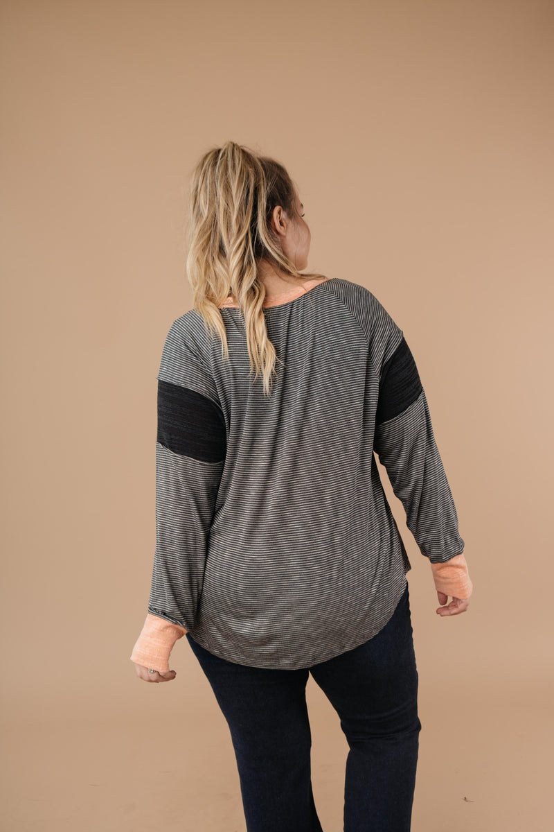 Home Base Contrast Long Sleeve Top In Black
