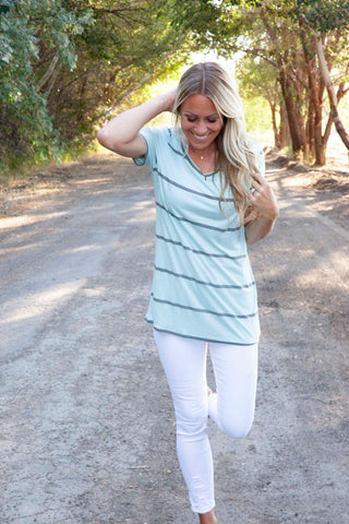 Basic Scoop Neck Tank In Aquamarine