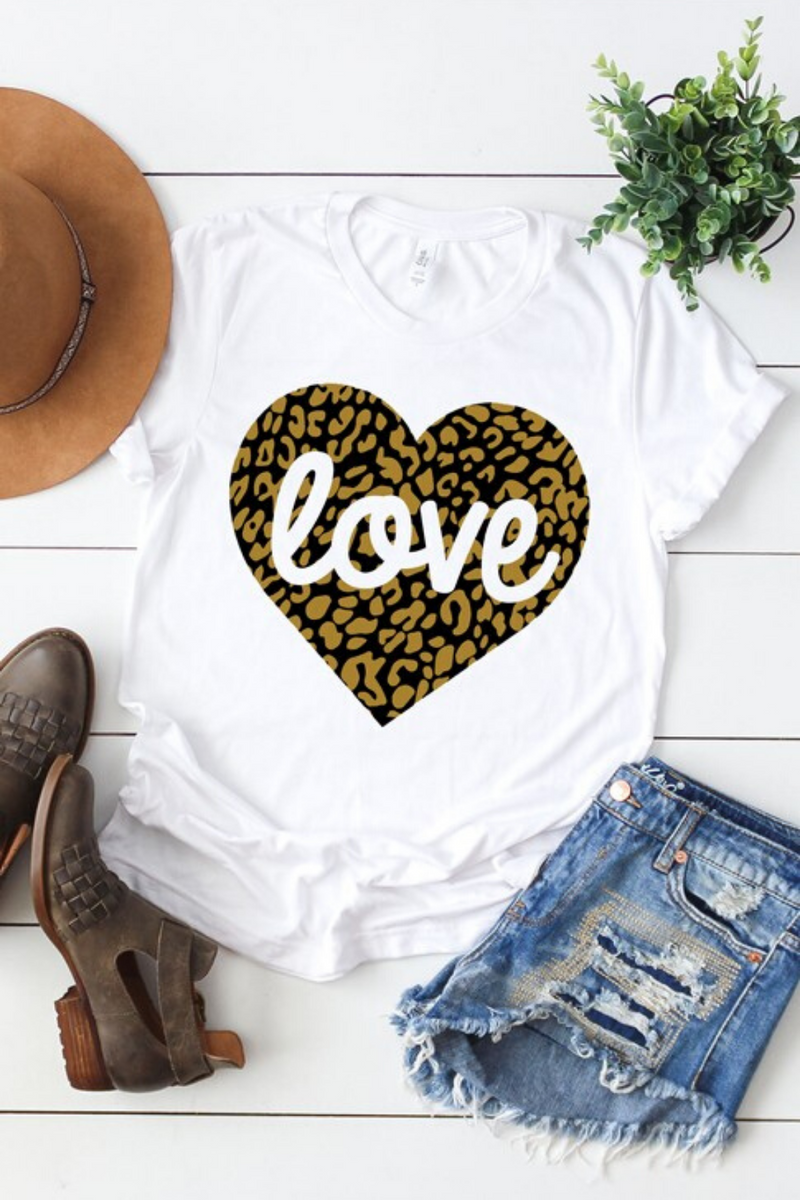 Leopard Love Heart Graphic Tee