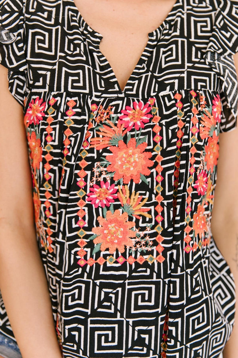 Patterns and Petals Embroidered Top
