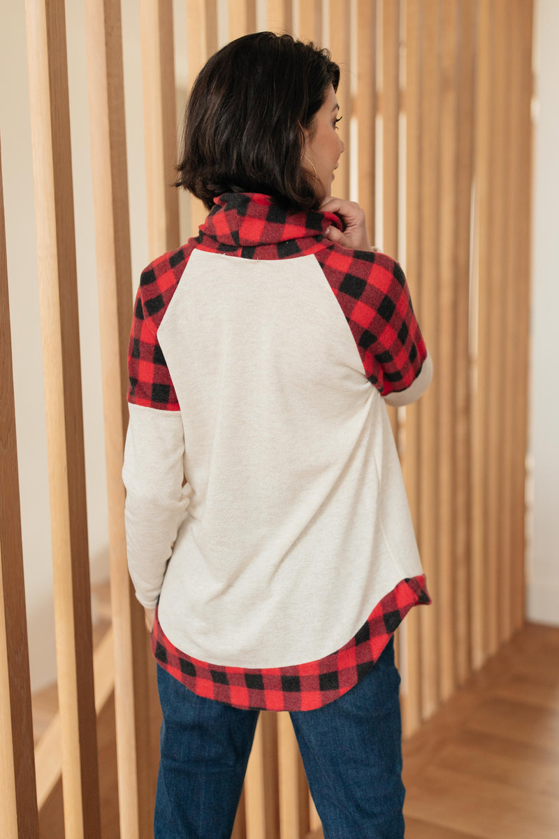 Plaid Details Top in Red