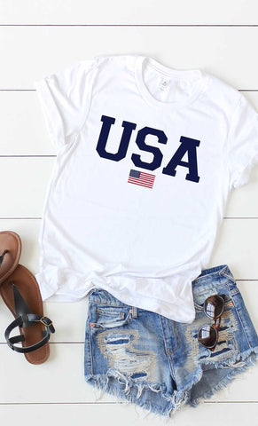Distressed Red USA Graphic Tee