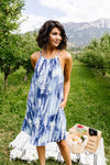 Blue Fern Tie Dye Halter Dress