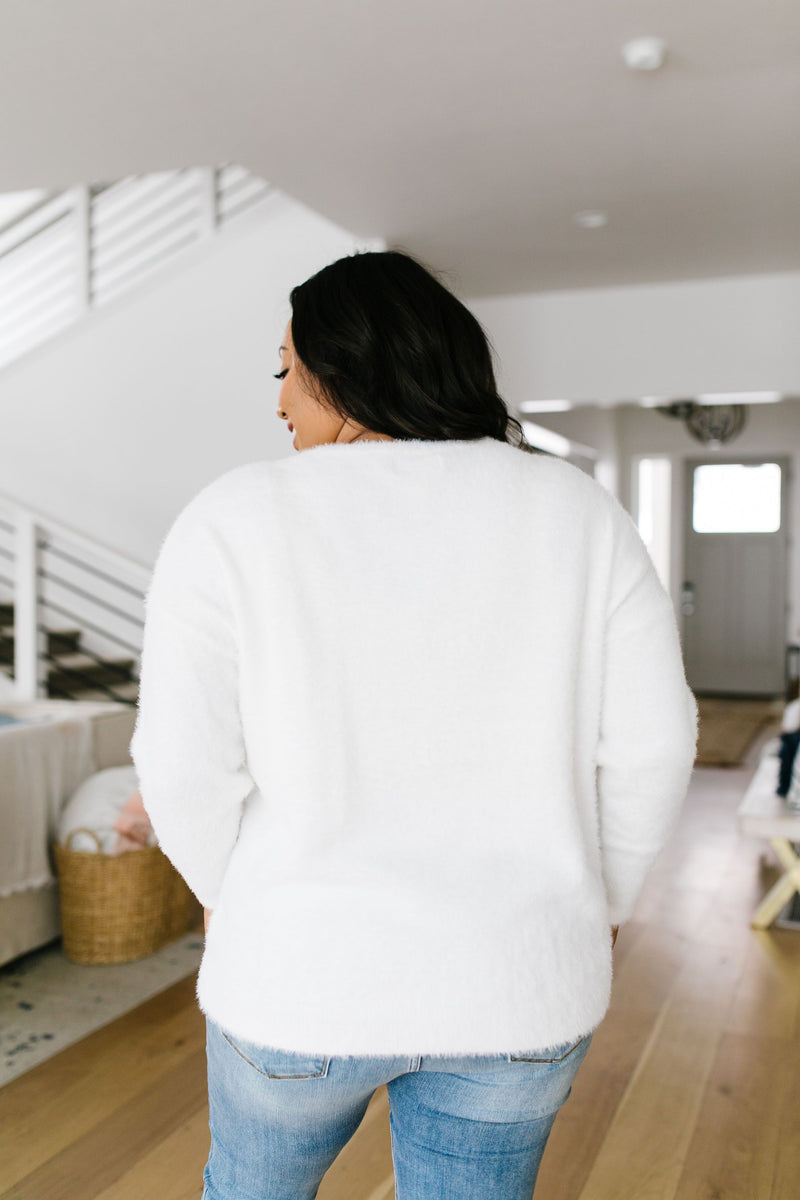 Count The Ways Fuzzy Pullover In Ivory