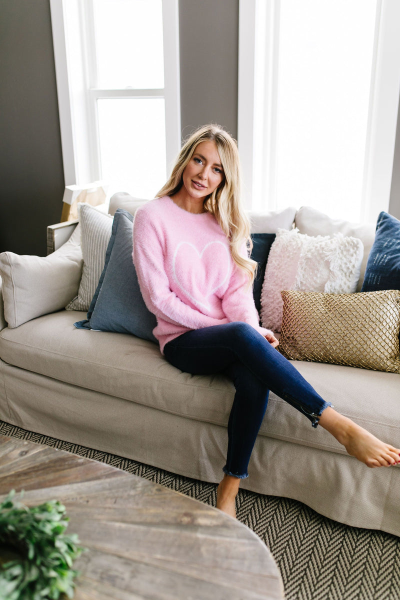 Count The Ways Fuzzy Pullover In Pink