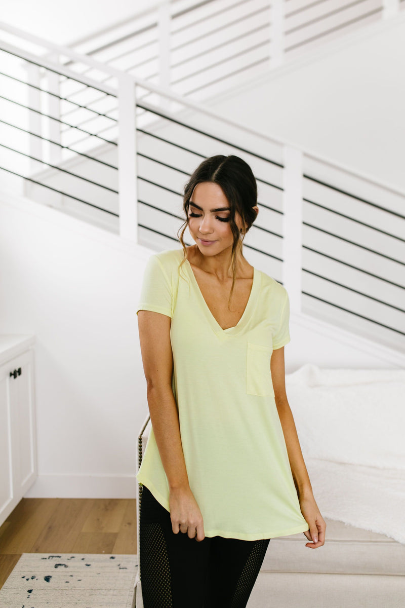 Everyday Yay V-Neck Tee In Citrus