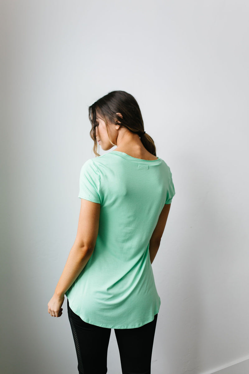 Everyday Yay V-Neck Tee In Mint