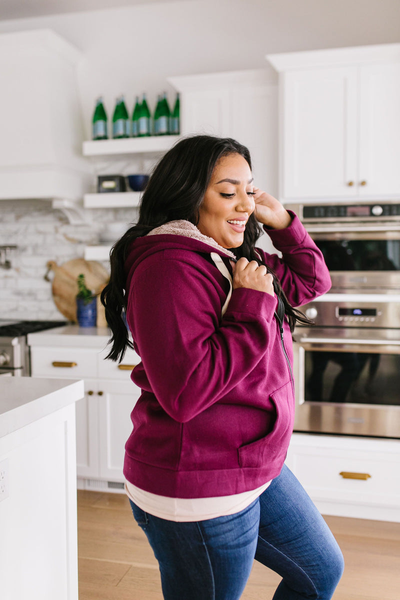 Head Over Heels Sherpa Lined Hoodie In Burgundy
