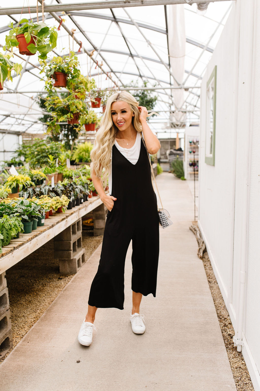 Low V Cropped Jumpsuit