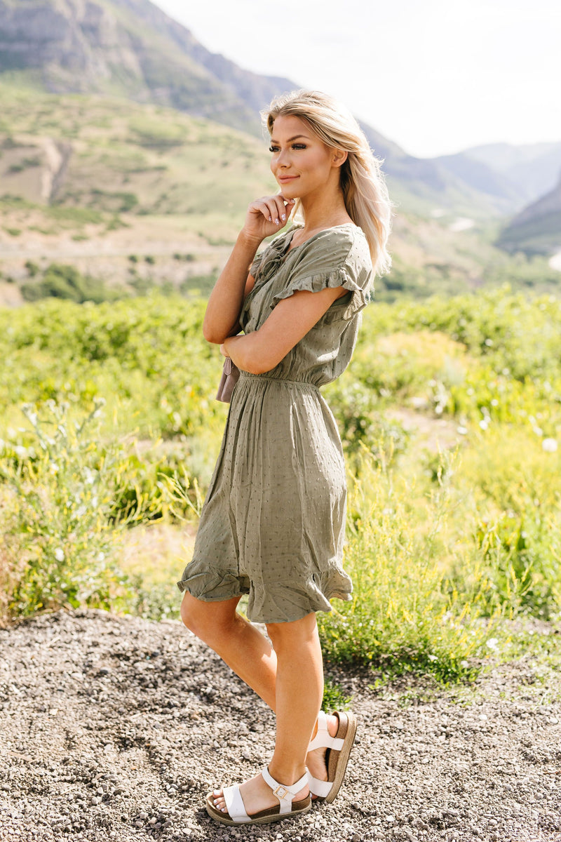 Ruffled Olive Swiss Dot Dress