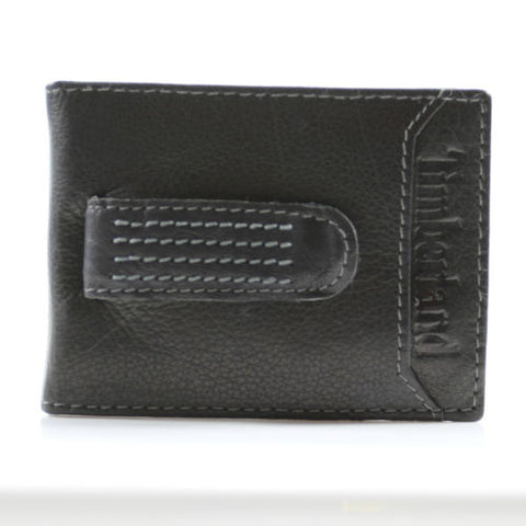 Timberland Flip Clip Leather Wallet Money Clip Wallet Gift Box (Black)