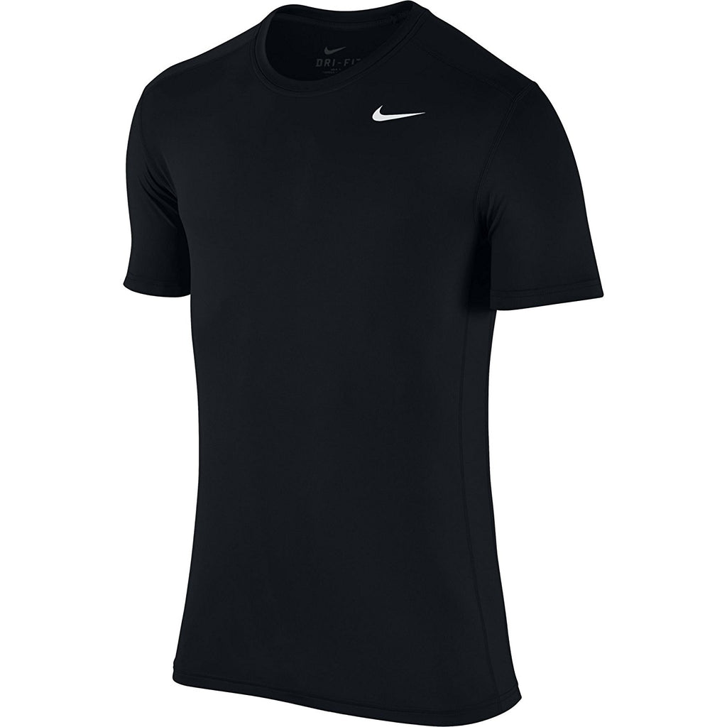 Nike Men's Dri-Fit Base Layer Short Sleeve Stretch Crew Shirt, Black/White, XL
