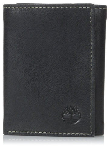 Timberland Premium Genuine Leather Cloudy Trifold Wallet, Black