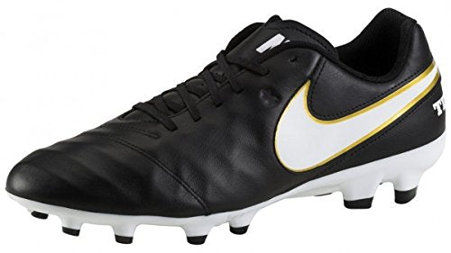 Nike Tiempo Genio II Leather Firm Ground Soccer Cleat, Black/White, 11