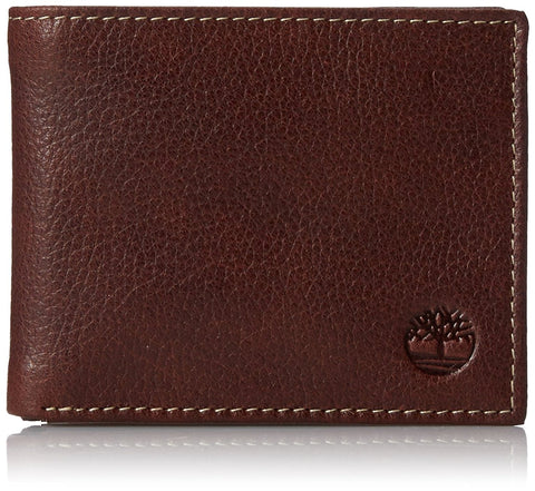 Timberland Milled Pebbled Leather Bifold Passcase Wallet Gift Box, Brown