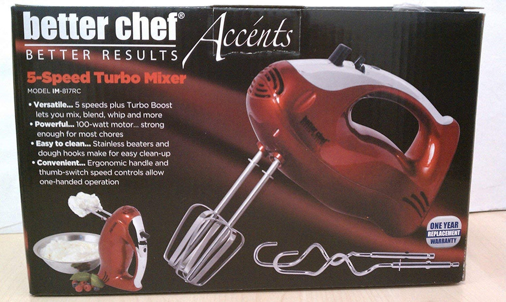 Better Chef 5 Speed Turbo Hand Mixer, Red with Silver Accents