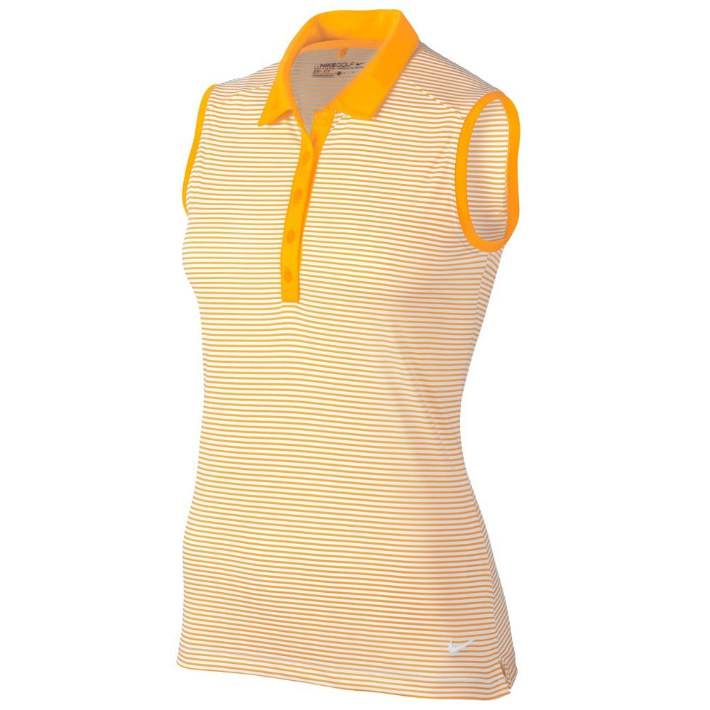 Nike Women's Victory Stripe 2017 Sleeveless Golf Polo, Laser Orange/White, Small