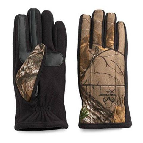 Isotoner Men's SmartTouch Active Therma Lined Texting Gloves, Black/Camo, XL