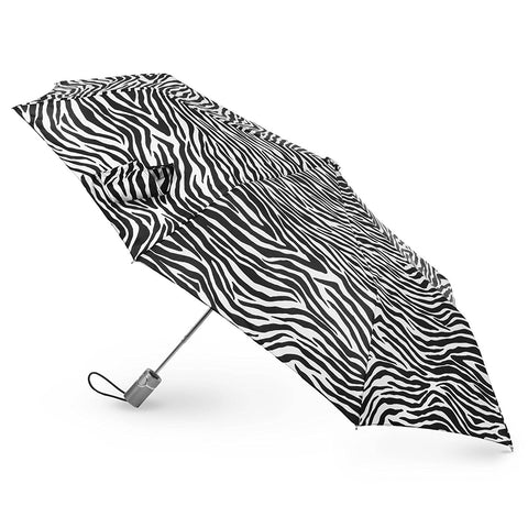 "Totes Classics 3 Section Automatic 43"" Arc Open Umbrella , Zebra Black/White"